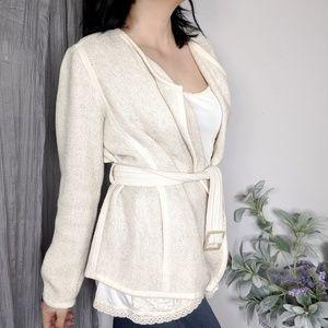 Vince Woven Cotton blazer cream linen blend 348